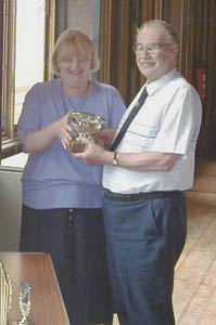 Brian, G4KSQ receiving the Founder's Trophy