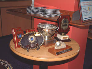 Some of the trophies before being presented