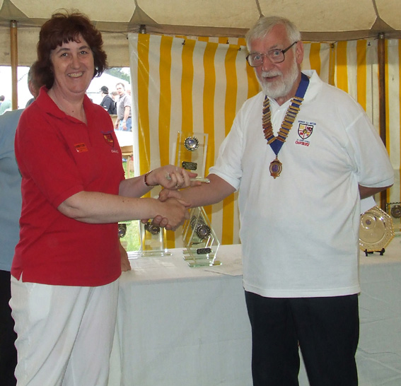 Judith G4IAQ receives the Annual Activity Award for activating 249 Areas on behalf of the Leicestershire W.A.B. Group