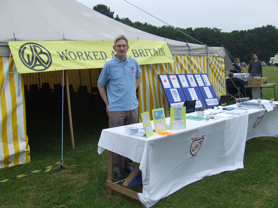 Graham G4JZF manning the W.A.B. stand outside the marquee