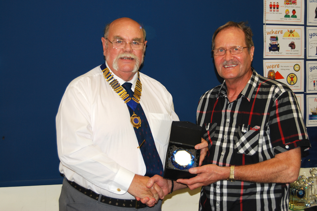 Ken G0FEX receives his Sapphire Anniversary Award Third Trophy from Geoff G7GJU