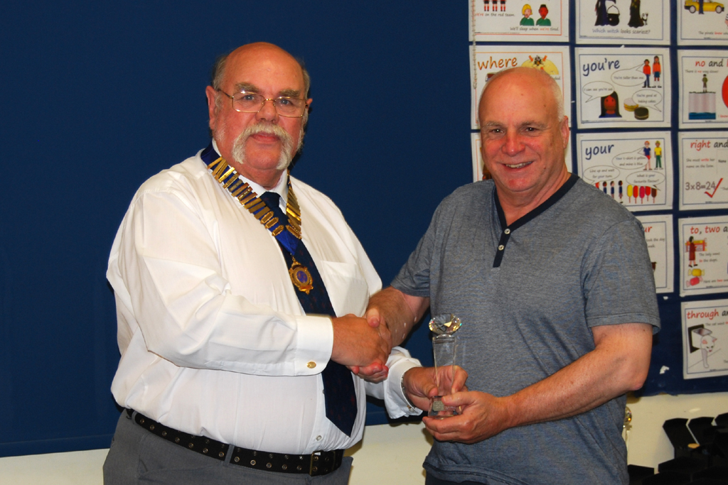 Geoff G7GJU presents Dave G0FVH with his Squares Award Diamond trophy