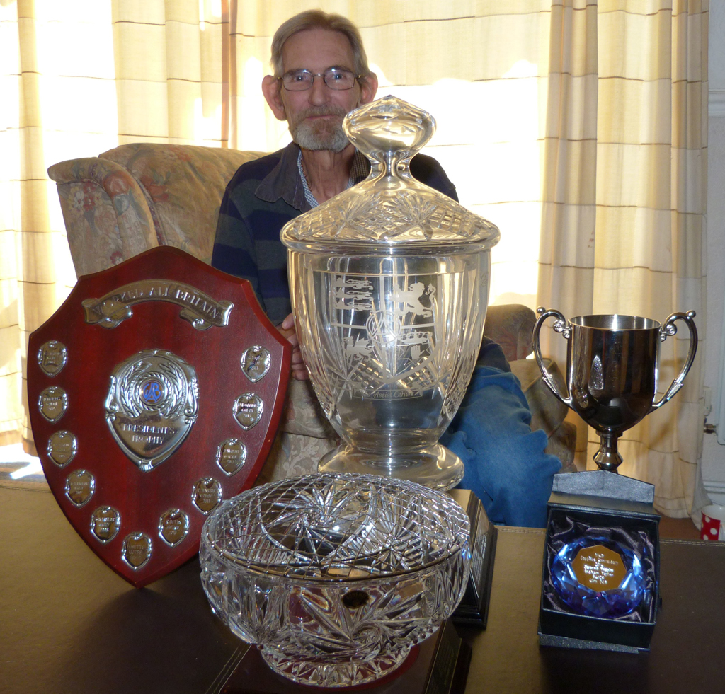 Graham G4JZF unfortunately couldn't make it to the A.G.M. but here he is with some of the trophies he won this year