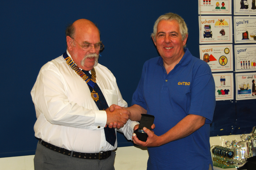 Mike G4TSQ receives his Sapphire Award for Mobile activity from Geoff G7GJU