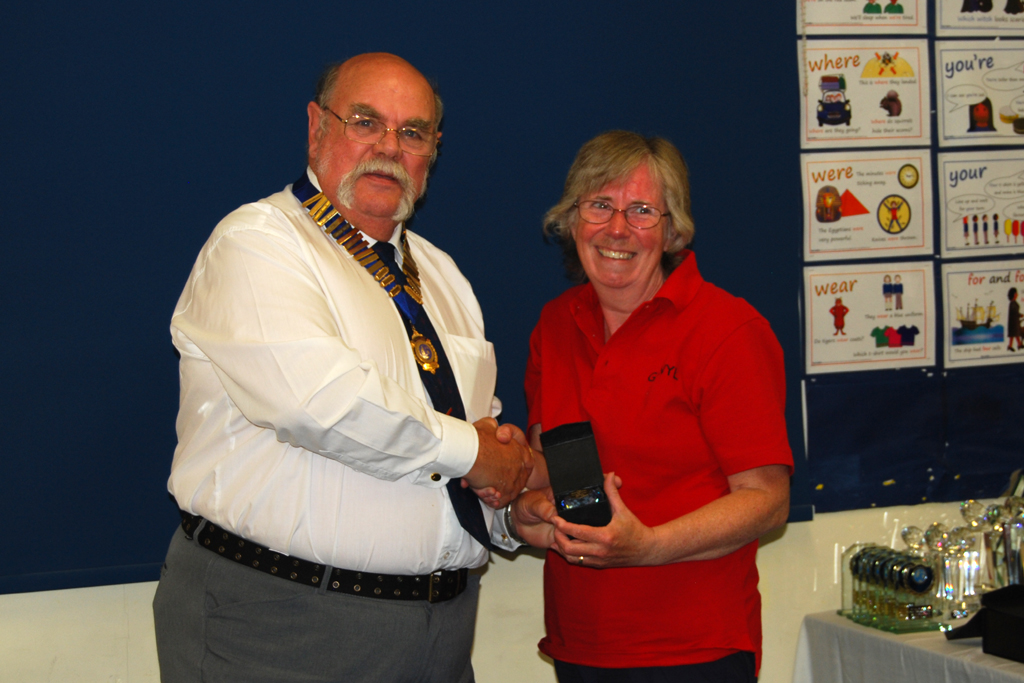 Christine G4WYL receives her Sapphire Award for Mobile activity from Geoff G7GJU