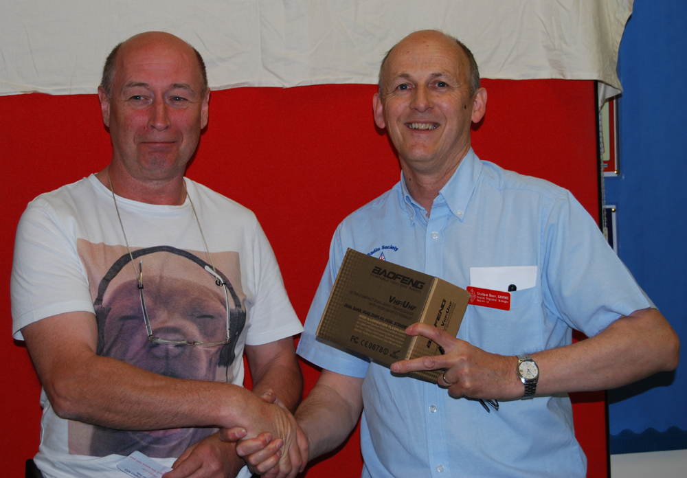 Peter ON2WAB was the surprise winner of a Baofeng VHF/UHF Handheld Transceiver in the Spalding Rally Raffle