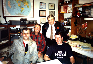 Bob G4GEE, Larry Smith WA4QQV, John Reasoner WA4QMQ & Alan G4NXG in Larry's shack