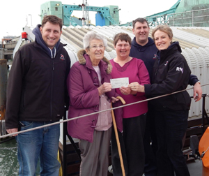 Loraine M3GUE & her mum present the cheque at R.N.L.I. HQ, Poole