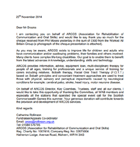 Letter of thanks from ARCOS for the donation