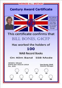 W.A.B. Book Holders Award certificate