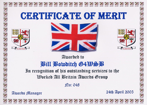 W.A.B. Certificate Of Merit