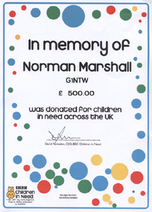 Certificate received after donation of £500 to Children In Need