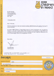 Letter and receipt received after donation of £500 to Children In Need