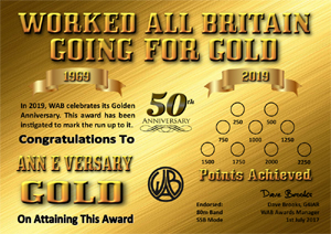 W.A.B. Going For Gold Award certificate