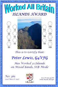 W.A.B. Islands Award certificate