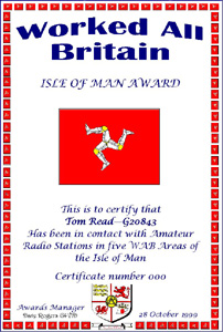 W.A.B. Isle Of Man Award certificate
