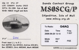 MS0SCG/P QSL Card rear