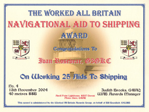 W.A.B. Navigational Aid To Shipping Award certificate
