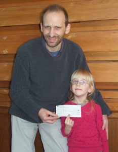 Cheque presented to Pump Aid