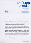 Reply from Pump Aid acknowledging receipt of donation