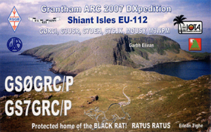 GS0GRC/P and GS7GRC/P QSL Card front