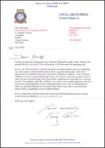 Thank you letter received from Sky Watch for donation