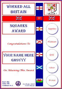 W.A.B. Squares Award certificate
