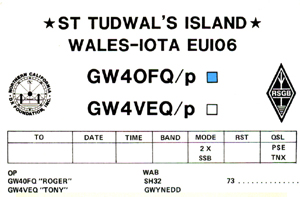 St Tudwal's Island expedition QSL Card