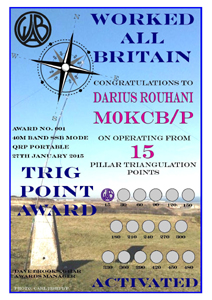 W.A.B. Trig Points Activated Award certificate