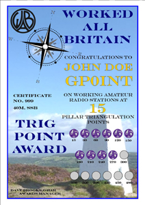 W.A.B. Trig Points Award certificate