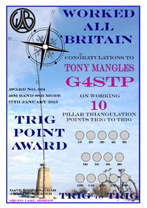 W.A.B. Trig To Trig Award certificate